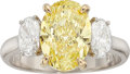 Estate Jewelry:Rings, Fancy Intense Yellow Diamond, Diamond, Platinum Ring. ...