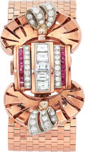 Estate Jewelry:Watches, Retro Hamilton Lady's Diamond, Ruby, Pink Gold Bracelet Watch. ...