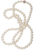 Estate Jewelry:Necklaces, South Sea Cultured Pearl, Diamond, Pink Gold Necklace. ...