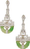 Estate Jewelry:Earrings, Jadeite Jade, Diamond, Platinum Earrings. ... (Total: 2 Items)