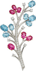 Estate Jewelry:Brooches - Pins, Multi-Stone, Diamond, Platinum, Gold Brooch, Tiffany & Co.. ...