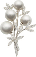 Estate Jewelry:Brooches - Pins, South Sea Cultured Pearl, Diamond, Platinum Brooch, Tiffany &Co. . ...