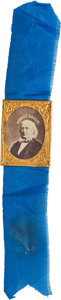 Political:Ferrotypes / Photo Badges (pre-1896), . Horace Greeley: Choice Gem Albumen on Silk Ribbon....