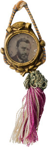 Political:Ferrotypes / Photo Badges (pre-1896), Ulysses S. Grant: Cord-and-Tassel Ferrotype Badge....
