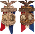 Political:Ferrotypes / Photo Badges (pre-1896), Cleveland & Thurman and Harrison & Morton: Cardboard JugateBadges.... (Total: 2 Items)