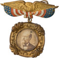 Political:Ferrotypes / Photo Badges (pre-1896), James A. Garfield: A Colorful and Unusual 1880 Photo Badge....