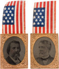 Political:Ferrotypes / Photo Badges (pre-1896), Blaine & Logan: A Highly Unusual Pair of 1884 Campaign Badgeswith Ferrotype Portraits.... (Total: 2 Items)