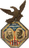Political:Ferrotypes / Photo Badges (pre-1896), Harrison & Morton: Colorful Large 1888 Jugate Badge....