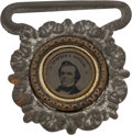 Political:Ferrotypes / Photo Badges (pre-1896), Stephen A. Douglas: Suspender Buckle Ferrotype....