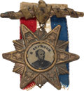 Political:Ferrotypes / Photo Badges (pre-1896), Horatio Seymour: Most Unusual Starburst Ferrotype Badge....