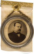 Political:Ferrotypes / Photo Badges (pre-1896), Grover Cleveland: Portrait on Glass Ribbon Badge....