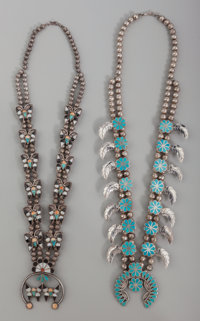 Two Zuni Squash Blossom Necklaces c. 1960 and 1980