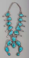 American Indian Art:Jewelry and Silverwork, A Large Navajo Squash Blossom Necklace. c. 1970...