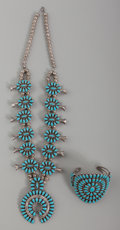 American Indian Art:Jewelry and Silverwork, A Zuni Squash Blossom Necklace and Bracelet. c. 1960. ... (Total: 2Items)