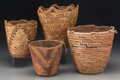 American Indian Art:Baskets, Four Plateau/Northwest Coast Imbricated Baskets. c. 1890 - 1910...(Total: 4 Items)