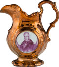 Political:3D & Other Display (pre-1896), William Henry Harrison: Copper Lustre Pitcher....