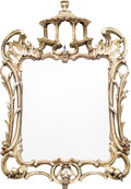 Decorative Arts, Continental, A Pair of Chinese Chippendale-Style Carved Silvered Wood WallMirrors, 20th century. 25 h x 16-1/2 w inches (63.5 x 41.9 cm)...(Total: 2 Items)