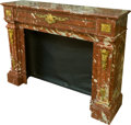 Furniture : Continental, A Louis XVI-Style Gilt Bronze Mounted Rouge Marble FireplaceMantle, early 20th century. 44 h x 59-1/2 w x 16 d inches (111....