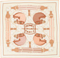 "Luxury Accessories:Accessories, Hermes 140cm Brown & Beige ""Tatersale,"" by Henri d'Origny Silk and Cashmere Scarf . Pristine Condition. 55"" Width x 55..."