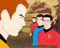 Animation Art:Production Cel, Star Trek Captain Kirk and Others Production Cel Setup(Filmation, 1973/74)....