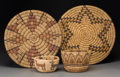 American Indian Art:Baskets, Four Hopi Bundle Coiled Basketry Items... (Total: 4 Items)