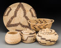 American Indian Art:Baskets, Five Papago Coiled Basketry Items... (Total: 5 Items)