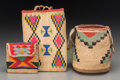 American Indian Art, Three Small Plateau Cornhusk Bags... (Total: 3 Items)