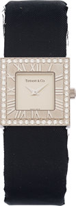 Estate Jewelry:Watches, Tiffany & Co. Lady's Diamond, White Gold Atlas Watch. ...