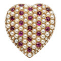Estate Jewelry:Brooches - Pins, Victorian Ruby, Half-Pearl, Gold Pendant-Brooch. . ...