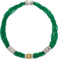 Estate Jewelry:Necklaces, Emerald, Colored Diamond, Diamond, White Gold Necklace, Valente....