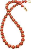 Estate Jewelry:Necklaces, Coral, Gold Necklace, Van Cleef & Arpels. ...