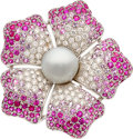 Estate Jewelry:Brooches - Pins, South Sea Cultured Pearl, Diamond, Ruby, Pink Sapphire, White Gold Brooch, Valente. ...