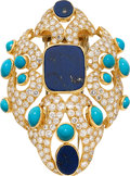 Estate Jewelry:Brooches - Pins, Diamond, Lapis Lazuli, Turquoise, Gold Clip-Brooch, French. ...