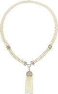 Estate Jewelry:Necklaces, Cultured Pearl, Diamond, Platinum Tassel Necklace. ...