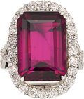 Estate Jewelry:Rings, Pink Tourmaline, Diamond, Platinum Ring. ...