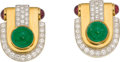 Estate Jewelry:Earrings, Emerald, Diamond, Ruby, Platinum, Gold Earrings, David Webb. ...(Total: 2 Items)