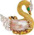 Estate Jewelry:Brooches - Pins, Diamond, Colored Diamond, Freshwater Cultured Pearl, Emerald, Gold Slide Pendant. ...