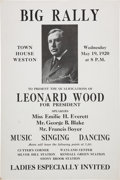 Political:Posters & Broadsides (1896-present), Leonard Wood: 1920 Campaign Rally Poster for a One Day Event, May19th....