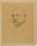 Political:Small Paper (pre-1896), Grover Cleveland: An Original Pencil Drawing by William McGregor Paxton....