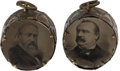 "Political:Ferrotypes / Photo Badges (pre-1896), Harrison & Morton and Cleveland & Stevenson: A CharmingPair of ""Toy Drum"" Charms, with Tintype Portraits as theDrumheads.... (Total: 2 Items)"