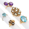 Estate Jewelry:Rings, Diamond, Multi-Stone, Gold Rings. . ... (Total: 5 Items)