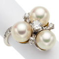 Estate Jewelry:Rings, Diamond, Cultured Pearl, White Gold Ring. . ...