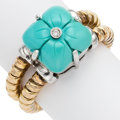 Estate Jewelry:Rings, Turquoise, Diamond, Gold Ring. . ...