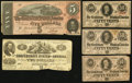 Confederate Notes:Group Lots, Group of Five Confederate Treasury Notes 1862-64... (Total: 5notes)