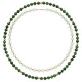 Estate Jewelry:Necklaces, Serpentine, Gold Beads. . ...