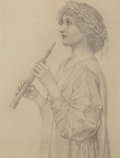 Fine Art - Work on Paper:Drawing, Henry Ryland (British, 1856-1924). Study of a girl wearing alaurel wreath, playing a recorder. Black chalk on paper (sh...