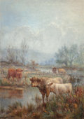Fine Art - Painting, European:Modern  (1900 1949)  , Louis Bosworth Hurt (British, 1881-1929). A misty morning,Scotch cattle. Oil on canvas. 48 x 34 inches (121.9 x 86.4cm...