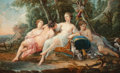 Paintings, Pierre Jollain (French, 1720-1762). Diana with her nymphs resting after the hunt, 1761. Oil on panel. 23-1/4 x 38-1/2 in...