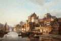 Fine Art - Painting, European:Antique  (Pre 1900), Kasparus Karsen (Dutch, 1810-1896). A view of a town by ariver. Oil on canvas. 24-3/4 x 26-1/2 inches (62.9 x 67.3cm)...