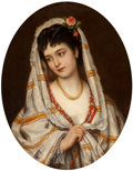 Paintings, Eugen von Blaas (German, 1843-1931). A young Italian beauty, 1871. Oil on canvas. 32 x 25-1/2 inches (81.3 x 64.8 cm). S...